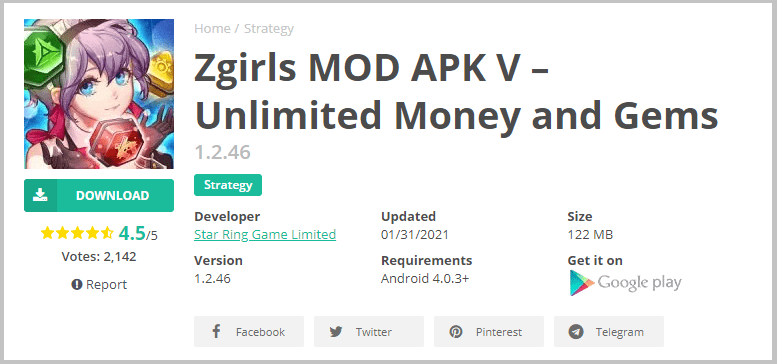 download zgirls mod apk